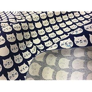 布人倶楽部 綿100% オックス猫柄(おとぼけフェイス)プリント 紺 108cm幅