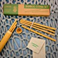 Zenify Bamboo Reusable Straws Set of 8 x 20cm with Case, Travel Bag, Cleaning Brush - Alternative to Plastic, Metal, Glass, Paper, Silicone, Pyrex, Stainless Steel Drinking Straw - 100% Biodegradable, Eco-Friendly, Enviro-Friendly, Compostable, Organic, V