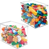 (2 Pack) - mDesign Kids/Baby Toy Storage Box, for Blocks, Play Kitchen Pieces, Costumes - Pack of 2, Tall, Clear