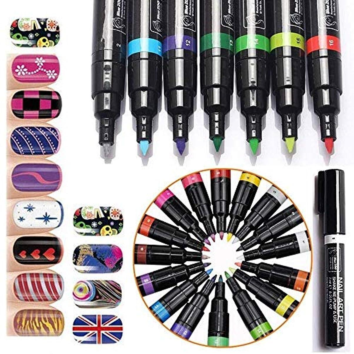 ペインギリック証書争うカラー ネイルアートペン 3Dネイルペン ネイルアートペン ネイルマニキュア液 ペイントペン ペイント DIY 16色 装飾図面ドットポリッシュペン セット