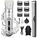KERUITA Hair Clippers, Quiet LED Display Cordless Rechargeable Hair Trimmers for Men, IPX7 Waterproof Haircut Kit (Silver)
