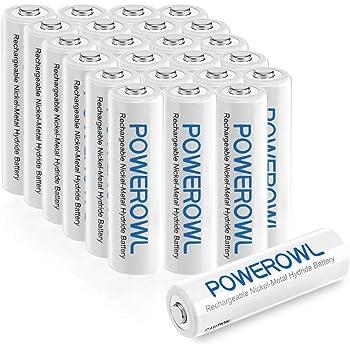 Powerowl単4形充電式ニッケル水素電池24個セット 大容量 自然放電抑制 環境保護 電池収納(1000mAh、约1200回循環使用可能)