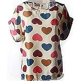 Kasamysoul Womens Chiffon Colorful Birds Print Loose Blouse Floral Print T-Shirt Cute Tops