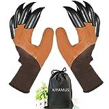Garden Genie Gloves, Waterproof Garden Gloves with Claw For Digging Planting, Best Gardening Gifts for Women and Men. (Brown)