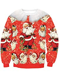 Zhuhaitf クリスマスのファッション レディース Vintage Print Santa Claus All Over Pullover Long Sleeves Women Adult Ugly Christmas...