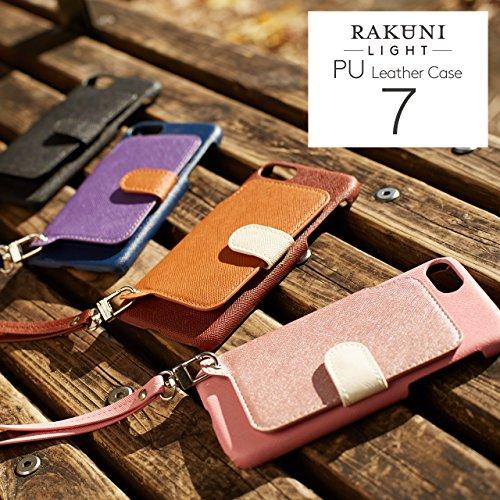 『RAKUNI Light PU Leather Case Book Type with Strap for iPhone 7 / iPhone 8 (ブルー) PUレザー スタンド機能 カードケース カバー ストラップホール付き RCB-7-BL』の5枚目の画像