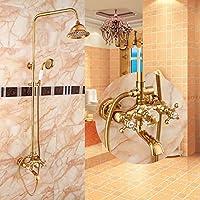 51BuyWorld トップクオリティの蛇口 豪華なシャワーセットゴールドカラーホワイトラウンドレインシャワーヘッドシャワー設定した2つの頭をシャワー キッチンバスルームのための使用ホーム屋外ガーデンウォータールーム