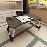 Aitmexcn Laptop Bed Table, Foldable Portable Lap Standing Desk with Cup Slot, Notebook Stand Breakfast Bed Tray Book Holder f