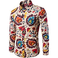 HENGAO Men's Cotton Printed Casual Long Sleeve Button Down Shirt