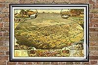 Ted 'sヴィンテージアートPhoenix Arizona 1885マップ壁アートプリント|博物館品質マット紙|理想的なホーム&キッチン装飾|デジタル復元Historicリトグラフポスター 24 x 36 Inch