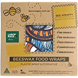 """Beeswax Food Wraps 2-Large by Bee Wrappy Tested to FDA Standards - Australian Made – 2 Large (13.4"""" X 13.4"""") – Washable and R"""
