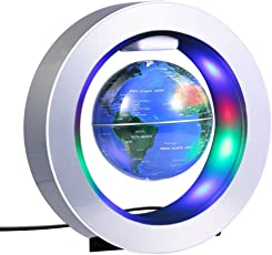 Yosoo 磁気浮上 地球儀 浮遊・回転型の地球儀 浮く地球儀 自動回転 LEDライト 空中浮遊 空中浮揚 世界地図 360度回転 球体点灯回転 電磁誘導 リニアモーターカー地球儀 英語表記 ベース付き 点灯 オフィス 飾り用品 世界地図 教学用