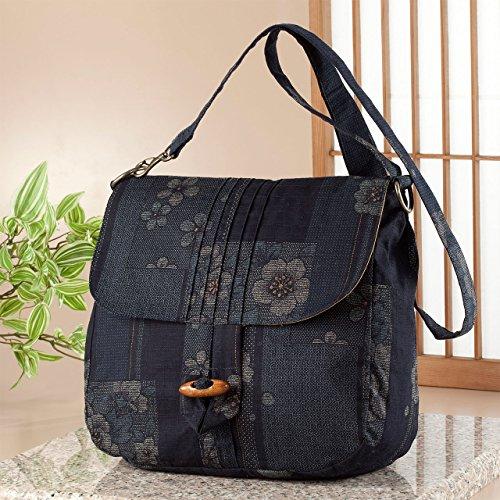 (ローズハウス) Rose House 綿つむぎ織 2WAY バッグ ショルダー 和柄 花柄 日本製 大島調柄 京風 紺色
