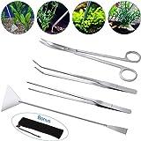 Lukovee Aquarium Tools Kit, 4 in 1 Long Stainless Steel Tweezers Scissor Spatula Multi Functional Aquarium Tank Tool Set for