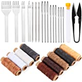 lmzay Leather Sewing Tools, Leather Craft Hand Stitching Tools Leather Hole Punches Lacing Stitching Punch Tool Leather Sewin
