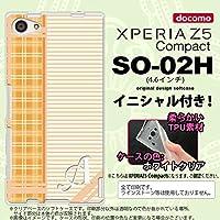 SO02H スマホケース Xperia Z5 Compact カバー エクスペリア Z5 コンパクト ソフトケース イニシャル チェック・ボーダー オレンジ nk-so02h-tp1602ini Q