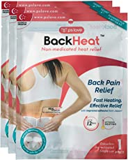BackHeat Heat Patch For Back Pain Relief And Comfort From Backaches Pack Of 3 Patches Wraps Pads One Size Multi