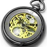 [ブラウン]BROWN 懐中時計 メカニカル ポケットウォッチ 両面スケルトン 925J-BKGD メンズ
