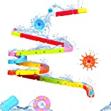 Bath Toys Slide Splash Water Ball Track Stick to Wall Bathtub for Toddlers DIY Waterfall Pipe and Tubes Tub Toys with Suction