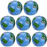 Pangda 8 Pack Inflatable Globe PVC World Globe Inflatable Earth Beach Ball for Beach Playing or Teaching, 16 Inch