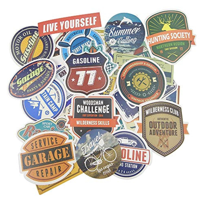 「35枚セット」 防水 ステッカー レトロ ビンテージ スーツケース 防水紙 - スーツケース、スケートボード、ノート、車、自転車、 パソコン(World Tour)