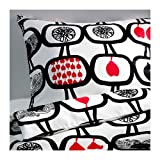 ANGSSKARA/掛け布団カバー&枕カバー/ブラック/ホワイト(サイズ150×200/50×60cm)[イケア]IKEA(10229945)