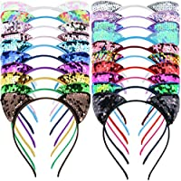 DeD 20Colors Reversible Sequins Cat Ears Headbands for Girls Plastic Hair Hoop Sequins Bows headbands Hair Accessories for Baby Girls Toddler Infants Kids