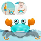 Amphibious Baby Toys, Beach Crab Bath Toys & Pull Toys for Toddlers 1-3, Clockwork Bathtub Toys for Kids,Push and Pull Baby T