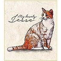 Printon 愛猫ペットの肖像画(一頭 / 身体全体) 色紙サイズ (デジタル水彩) 作画行程表付き 似顔絵