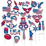 FRIDAY NIGHT 愛国的なデコレーション 7月4日 写真ブース小道具 退役軍人の日 米国記念日 大統領の日 愛国心のある写真ブース小道具 パーティーデコレーション パーティー記念品 36個