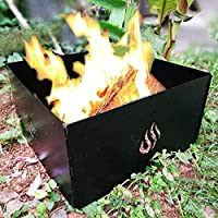 SILVERHERO Outdoor Foldable Campfire Fire Pit Ring 4 Panels with Carry Bag, Stackable Heavy Iron and Finished with High Temperature Paint, Black [並行輸入品]