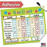 Dry Erase Reward Chore Chart - 16 x 13 - Multiple Children Behavior Incentive Star Charts - Kids Responsibility To Do List - Reusable Child Toddler Home & Classroom Teaching Resource (Lime) [並行輸入品]