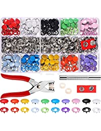 200 Set Hollow Solid Snap Fasteners Snaps Pliers Tool Metal Ring Button 10 Colors