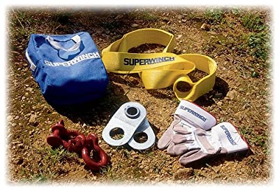 """Superwinch 2224 Kit - Large Winch Accessory kit with 20,000 lb HD Pulley Block, 3"""" x 8' Strap, 2 Bow Shackles, Gloves, Nylon Bag"""