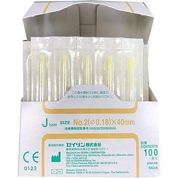 セイリン鍼灸針 Jタイプ (プラスチック針管付) (SJ-217) (針長40mm、アイボリー(線径0.18mm))