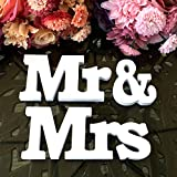 finerme Vintage MediumサイズホワイトMr & Mrs木製文字結婚式装飾デスクパーティー用装飾 ホワイト