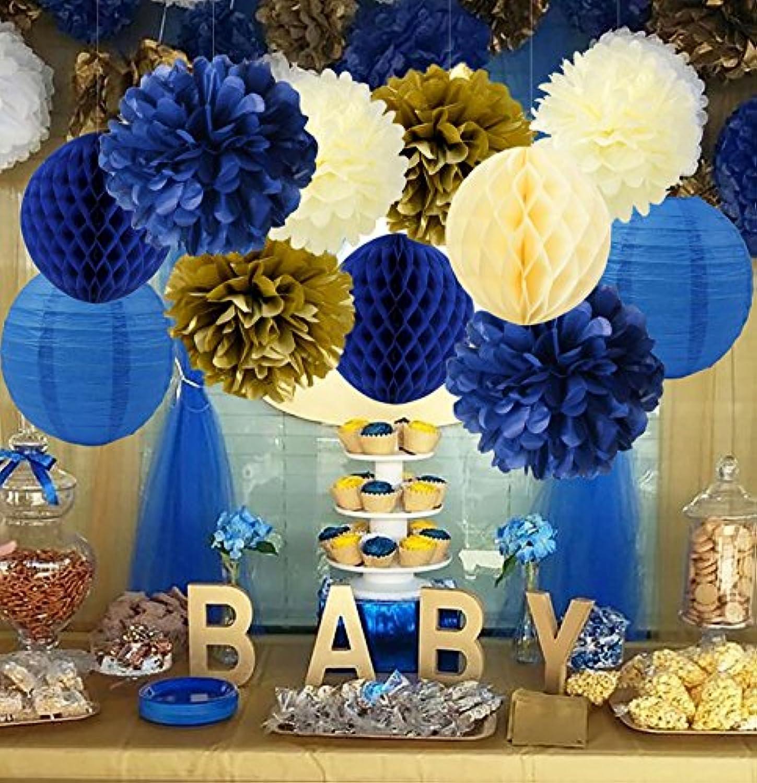 Furuix 誕生日 飾り付け ペーパーフラワー ポンポン ハニカムボール 飾り付け パーティー 装飾 セット 提灯 ネイビー ゴールド クリーム 12点
