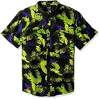 Guess Mens M81H68R8JP0 Short Sleeve Neon Palm 1 Pocket Shirt Short Sleeve Button Down Shirt - Multi