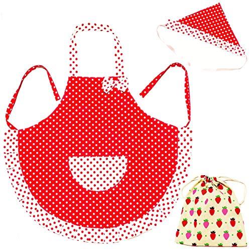 3world フリルと水玉がかわいい 女の子 子供用 エプロン 三角巾 収納袋 3点 セット SW791 レッド Mサイズ
