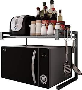 JOOCII レンジ上ラック 電子レンジの上 幅伸縮式(幅40-60cm) ラック 2段式 キッチン 収納 棚 レンジ台 トースター 表面マット仕上げ処理