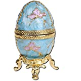 YUFENG Faberge Style Egg Shaped Trinket Box Hinged Jewelry Ring Holder Collectible Figurine Boxes w/Crystals