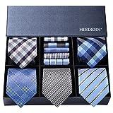 ヒスデン ビジネス用 ネクタイ 5本セット フォーマル ネクタイ チーフ セット メンズ おしゃれ ネクタイ ハンカチ 結婚式 青 ネクタイ ブランド プレゼント 男性