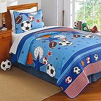 2pc Boysブルーすべてスタースポーツテーマキルトツインセット、子供FunスポーツSuper Stars寝具、オレンジレッド、スタイリッシュなバスケットボールフットボールサッカーボールバレーボール野球テーマストライプパターン