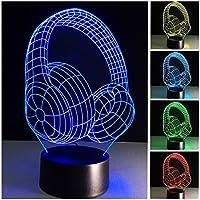 多色ナイトライト、3Dナイトライト7色の変更 タッチコントロールLEDナイトランプ 子供と友達のために (ヘッドフォン)