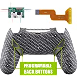 eXtremeRate Black Silver Carbon Fiber Dawn Programable Remap Kit for PS4 Controller with Upgrade Board & Redesigned Back Shel
