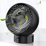 卓上 ファン SmartDevil 2021 静音 首振り 小型 卓上扇風機 5枚羽根 USB電源 ホームオフィスの寝室のテーブルとデスクトップコンピューターに適しています長時間連続使用 大風量 熱中症対策(黒)