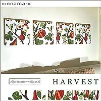 送料無料 ファブリックパネル アリス KINNAMARK HERVEST ハーベスト 30×30×2.5cm 4枚セット 植物 北欧 ファブリックボード 【同梱可】