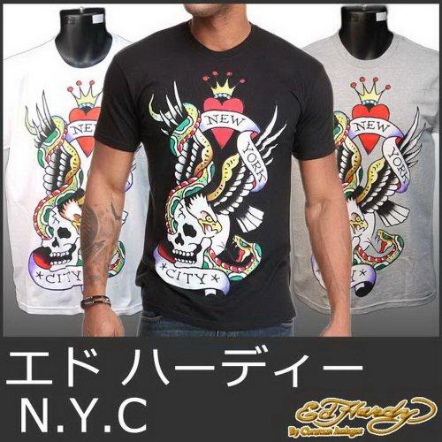 (エドハーディー) Ed Hardy 5220 -L黒 エドハーディー Tシャツ メンズ t NYC 白 ホワイト 黒 ブラック 灰 グレー 半袖 Mens Tee EH-002 L 【並行輸入品】