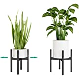 """Handmade Bamboo Plant Stand Adjustable Indoor Garden Flower Pot Holder Mid Century Display Rack Fit Size 8"""" to 12"""" Medium and"""