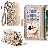 iPhone7ケース アイフォン7ケース,WWW®[RFIDブロッキング] [透かし彫りの花 デザイン] 良質PUレザーケース 横開き 手帳型 カード入れ ストラップ付き 化粧鏡 スタンド機能 マグネット開閉 ゴールド